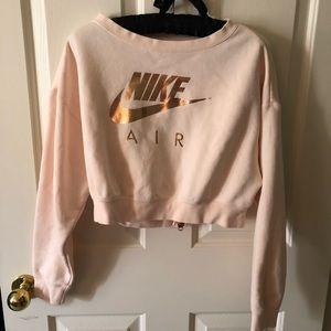 Rose gold cropped Nike sweatshirt